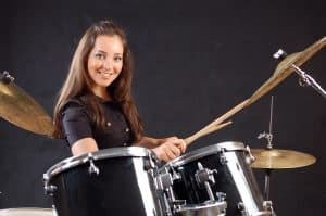 Student at her drum lessons